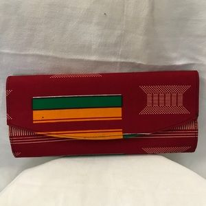 Hand made clutch with kente print fabric